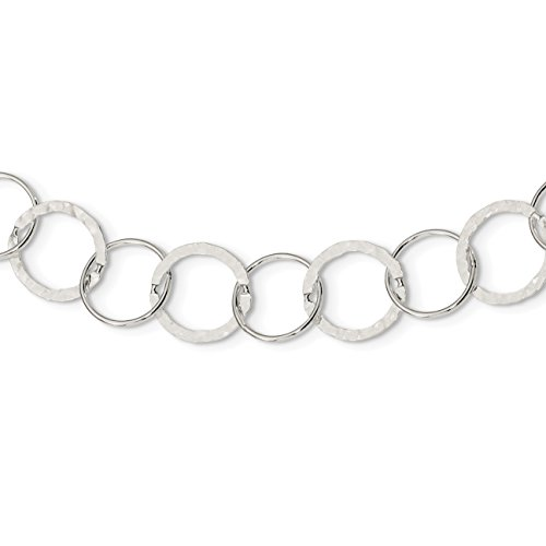 925 Sterling Silver Circle Link Necklace 24 Inch - Sterling Silver Circle Link Necklace