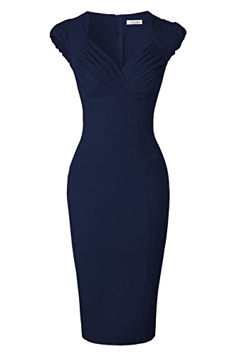 Newdow Lady's 50s Vintage V-neck Capsleeve Pencil Dress (Medium, Navy Blue)