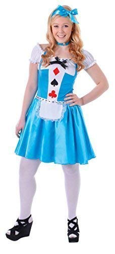 3 Piece Alice Costume - Teen & Older Girls 3 Piece Alice World Book Day Week Halloween Carnival Fancy Dress Costume Outfit 12-15yrs