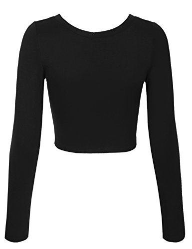 66d521350ab Jual KOGMO Womens Long Sleeve Basic Crop Top Round Neck with Stretch ...