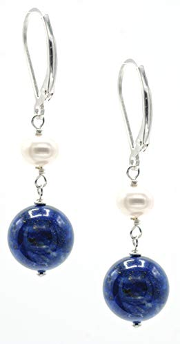 Round Lapis Bead and White Potato Freshwater Cultured Pearl Accent on Sterling Silver Drop Earrings