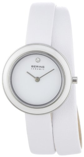 BERING Time 33128-854 Women's Ceramic Collection Watch with Leather Band and scratch resistant sapphire crystal. Designed in Denmark. 33128-854