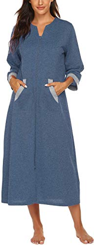 Ekouaer Women Long House Coat Button Front Robes Full Length Sleepwear Soft Bathrobe Ladies Loungewear