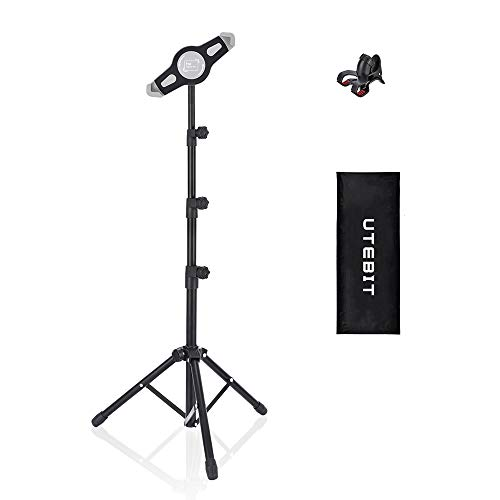 (UTEBIT Universial Tablet Tripod Stand Foldable for 7-12 Inch Tablets High Adjustable 50-165cm Floor Tablet and Phone Lock Holder Mount with Carry Bag 360 Rotate Compatible for Samsung Galaxy )