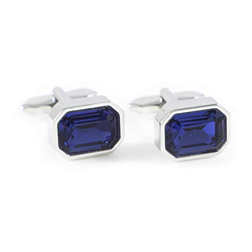 MENDEPOT Classic Silver Tone Octagon Sapphire Blue Crystal Cuff Links with Box