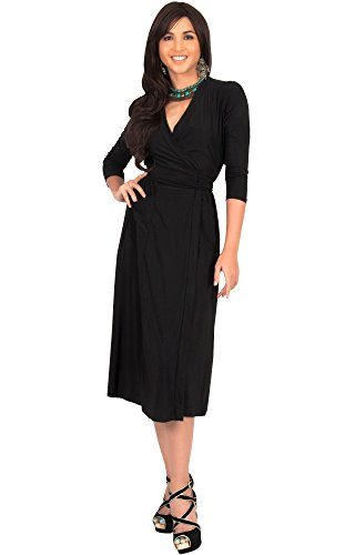 [KOH KOH Plus Size Womens 3/4 Sleeve V-Neck Wrap Knee Length Semi Formal Long Midi Dresses Deep Cut Tie Night Out Wedding Dinner Date Dress, Black, 3X Large 3XL] (Medieval Fancy Dress Plus Size)