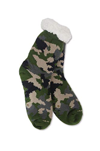 Camouflage Sherpa Thermal Knit Slipper Socks with Non-Slip Grippers (Adult XL/Youth Camo Green) ()