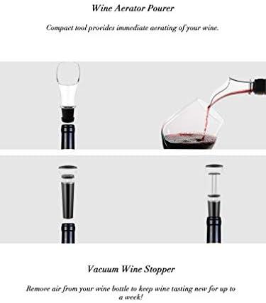 Flauno Sacacorchos Eléctrico, Automatico Abrelatas de Vino, Abridor Botellas de Vino con Corta Cápsulas, Vertedor de Vino, Tapón de Vino Silicona de Vacío, Caja de Regalo