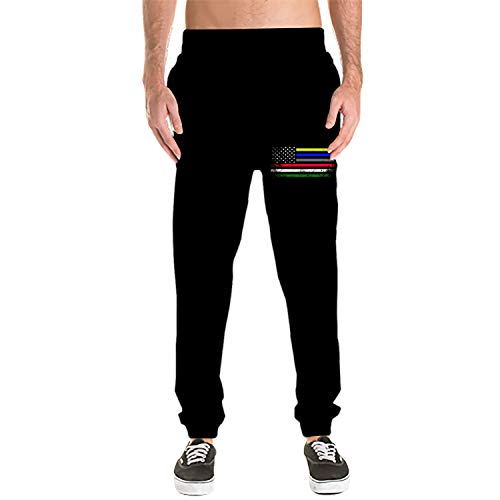 Athletic Men's Emergency Services Support Flag Cotton Sweatpants with Pockets