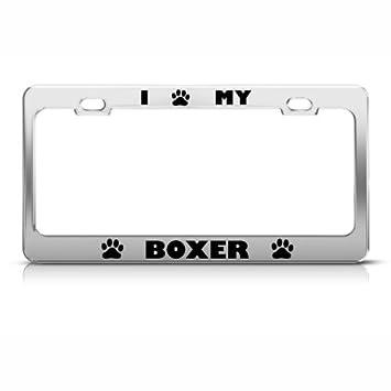 boxer dog dogs chrome animal metal license plate frame tag holder - Dog License Plate Frames