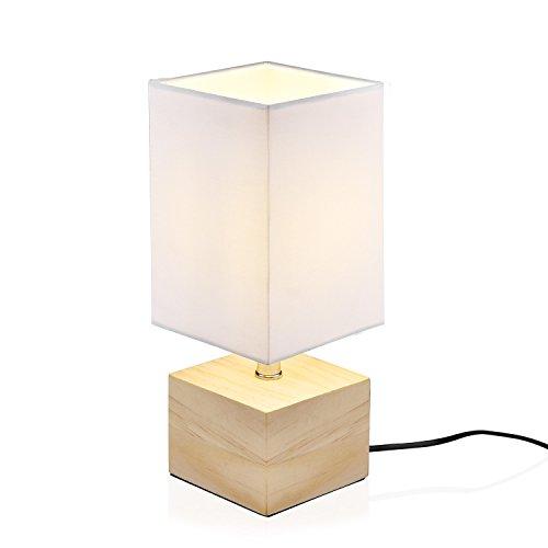 telaLámpara pantalla de moderna el mesa de Viugreum dormitorio para Lámpara con de base de estar003 madera de de White con sala escritorio la E9I2DH
