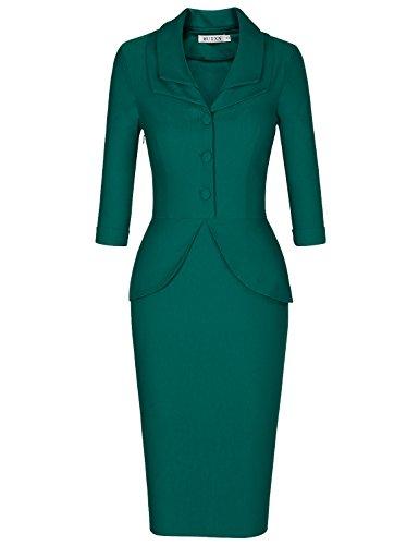 MUXXN Women's Rockabilly 40s Ruched Sleeve Pleated Flared Sexy Club Bodycon Dress (Dark Green XXL) (40s Rayon Dresses)
