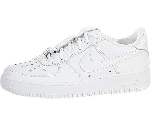 Nike Kids Air Force 1 QS (GS) White/White/Navy Basketball Shoe 6.5 Kids US