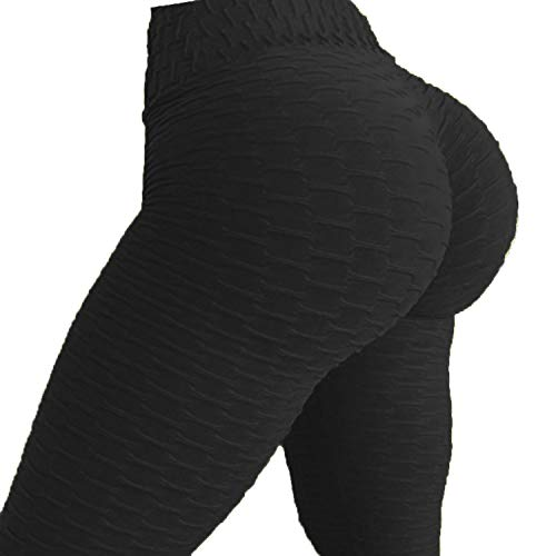 FITTOO Womens High Waist Textured Workout Leggings Booty Scrunch Yoga Pants Slimming Ruched Tights Black S -