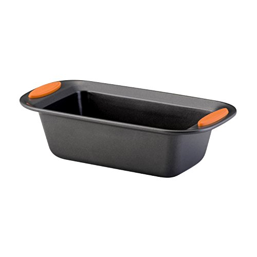Rachael Ray Yum-o! Nonstick Bakeware 9-Inch by 5-Inch Oven Lovin Loaf Pan, Gray with Orange Handles