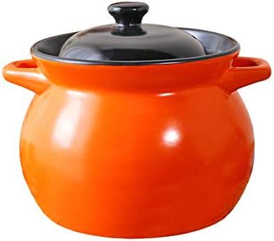 キャセロールセラミックポットストーンポットスープポットオープン炎高温家庭用セラミック健康キャセロール調理器具お粥大容量オレンジカバー付き (Color : ORANGE, Size : 3500ML)