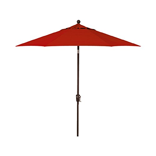 9-Foot Treasure Garden (Model 920) Push Button-Tilt Market Umbrella with Bronze Frame and Obravia2 Fabric:  Red