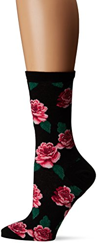 (Hot Sox Women's Originals Fashion Crew Socks, Rose Print (Black), Shoe 4-10/Sock Size 9-11)