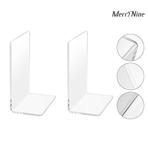 Bookends Pair Nonskid Heavy Metal Durable Sturdy Strong Books Organizer Telephone Booth Bookshelf Decor Decorative Bedroom Library Office School Supplies Stationery Gift (Plastic Acrylic_1 Pairs)