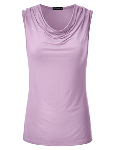 - EIMIN Women's Cowl Neck Ruched Draped Sleeveless Stretchy Blouse Tank Top Lilac 2XL