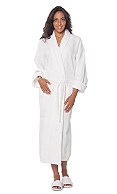 100% Turkish Cotton Waffle Robe With Velour Shawl