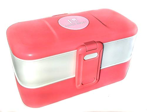 (Ultimate Cuteness Bento two layer Pink Rose Gold Lunch Box with Cutlery [included] perfect gift for women and girls)