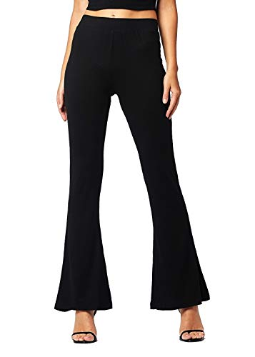 (Buttery Soft High Waisted Stretch Fit to Flared Pants for Women - Wide Leg Bell Bottom - Boho - Solid - Black - X-Large - GL-2001-Black-XL)