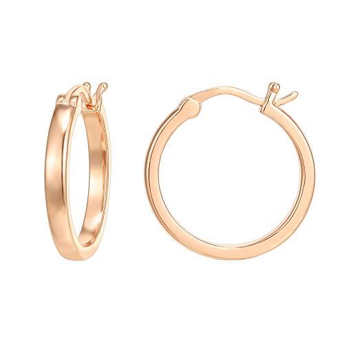 PAVOI 14K Rose Gold Plated 925 Sterling Silver Post Lightweight Hoops   Rose Gold Hoop Earrings for Women