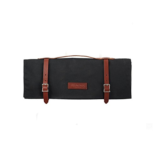 - Knife Roll - Waxed Canvas - Black - Made in USA