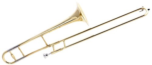Fever FEV-ST Student Slide B Flat Trombone with Case and Mouthpiece, Gold Lacquer by Fever