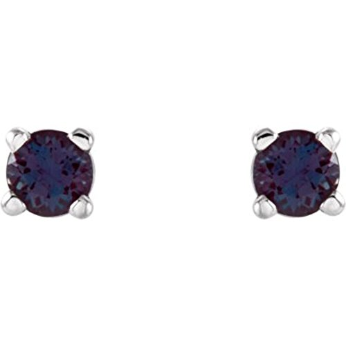2.5mm Round Chatham Created Alexandrite Earrings in 14k White Gold (Gold Chatham Alexandrite Ring)