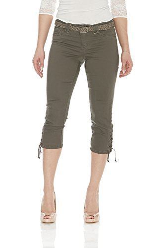 (Suko Capri Pant for Women with Braided Woven Belt 17733 Fatigue 8 )