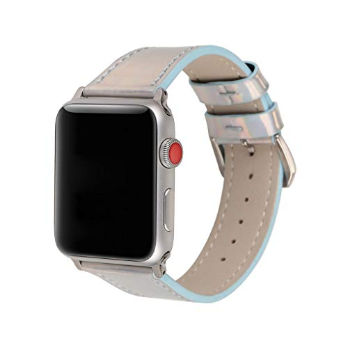 (Cywulin Compatible for Apple Watch 38mm 40mm 42mm 44mm Bling Band, Fashion Glitter Genuine Leather Replacement Sparkle Wristband Strap Bracelet for iWatch Series 4 3 2 1 Women Men (38mm/40mm, Blue))