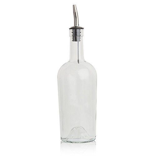 Glass Syrup Bottle with Vented Stainless Steel Pourer - -