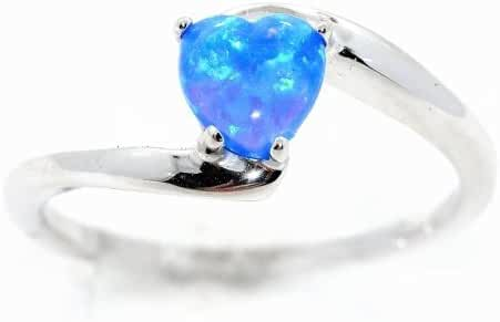 Simulated Blue Opal Heart Ring .925 Sterling Silver Rhodium Finish