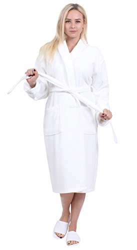 Turkuoise Women's Terry Shawl Robe, 100% Cotton Bathrobe Made in Turkey (4000-WHT-XXL)