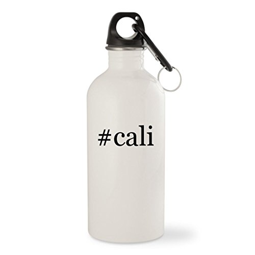 #cali - White Hashtag 20oz Stainless Steel Water Bottle with Carabiner Skechers Girls Cali Gear