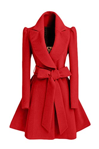 Coat Trench Inclus pour Color de Nœud Lapel Dessus papillon occasionnels femmes Printemps Sleeve Manteaux Pure mode élégants la Produit Plus Vêtements de Belt Automne Rouge Ceinture Long Laine wq8vzA