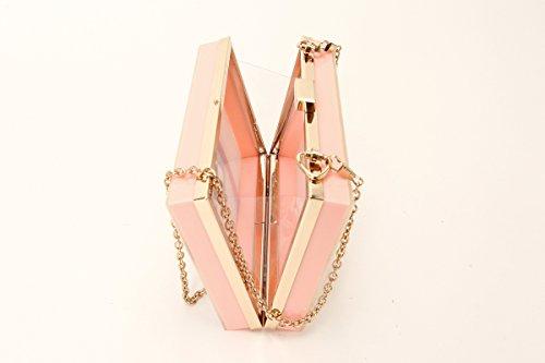 Elegant Clutch Style Box Hard Women's 2 Handbag Chain Zarapack Designer Shoulder Flamingo Perspex Bag Case Ew4CRfqx