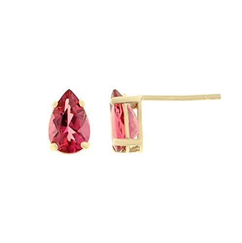 (Lavari - 7x5MM Pear Shaped Natural Pink Tourmaline 14K Yellow Gold Stud Earrings)