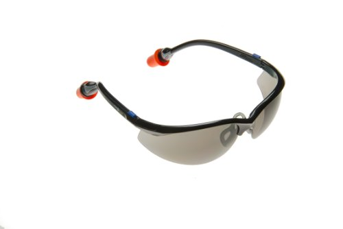 PlugsSafety PSGLS5A-DF Polycarbonate Hard Coated Safety Glasses with Durafoam Ear Plugs, Gray Anti-Fog Lens, Black Frame
