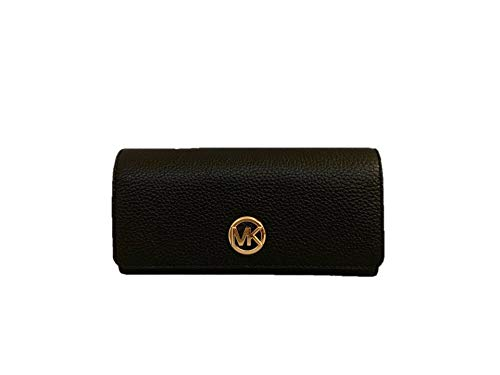 Michael Kors Fulton Flap Continental Carryall Clutch Wallet Purse in Black (Black Wallet Leather Medium Flap)