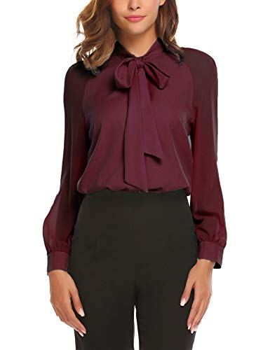 ACEVOG Women's Bow Tie Neck Long Sleeve Shirt Blouse Tops,X-Large,Red Wine