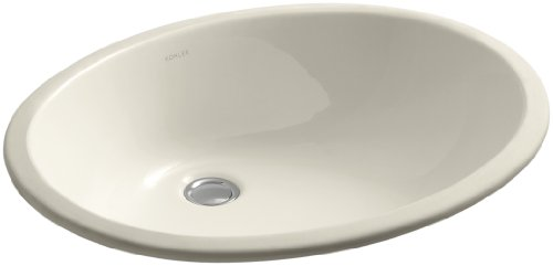 Caxton Almond - Kohler 2211-G-47 Ceramic undermount Oval Bathroom Sink, 20.76 x 17.76 x 9.72 inches, Almond
