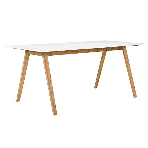 En Casa Esstisch Bambus Tischplatte Weiss Lackiert 180x80cm Esszimmer Holz