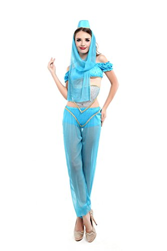 [COSWE Women's Princess Jasmine Aladdin Belly Dance Costume (M, Blue)] (Jasmine And Aladdin Costumes)