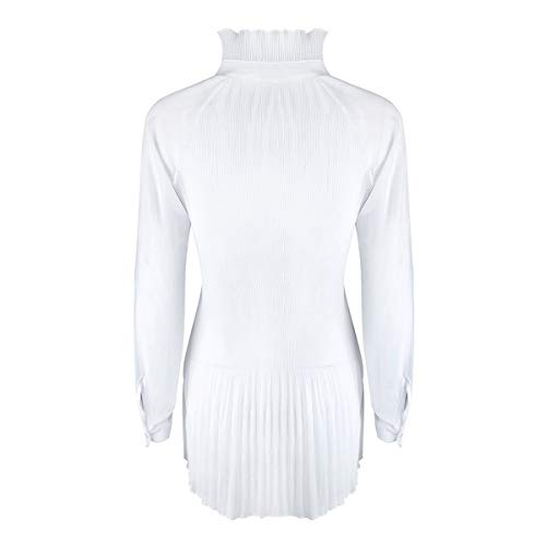 Noeud Papillon Manches Blouse Solid Longues Tops Turtle Femmes Tunic Neck White rrATdgq