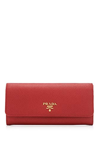Prada Women's Red Saffiano Leather Wallet with Flap