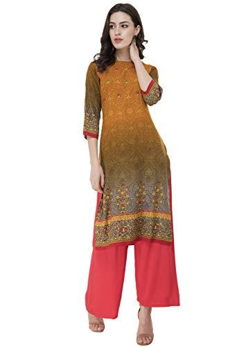 Kurta Kurti - Women Designer Straight A-Line Kurti top Kurta Tunic Dress 2XL, Mustard (UG22B)