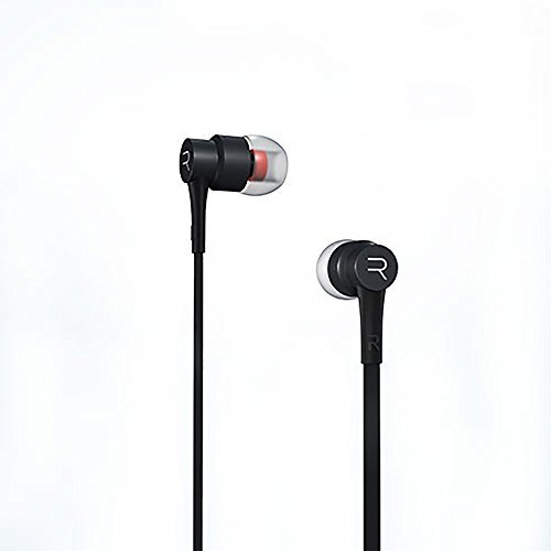 Remax - RM-535 - Stereo Metallic In-Ear Earbud Headphones / Earphones with Built-In Microphone and Play/Pause Button, Tangle Free Flat Cable, In-Line Control Sound (Black)